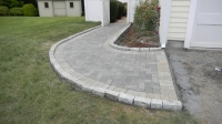 Walkway - Unilock Hollandstone pavers in Charcoal with inside border in Granite<br />