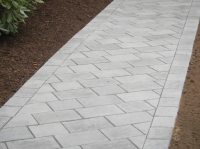 Walkway - Unilock Richcliff paver, color in Pebble Taupe and Dawn Mist