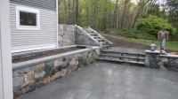 Planting and Seating Wall - NE Fieldstone w/Bluestone treads on top<br />